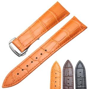 Image 1 - Ремешки для наручных часов 20 мм 22 мм ремешок для часов из натуральной кожи Черный Коричневый Оранжевый ремешок для часов Сменные Аксессуары Металлическая стальная пряжка