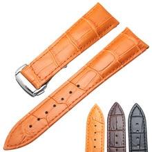 Pulseiras de relógio 20mm 22mm couro genuíno pulseira de relógio preto marrom laranja correia acessórios substituição metal aço fivela