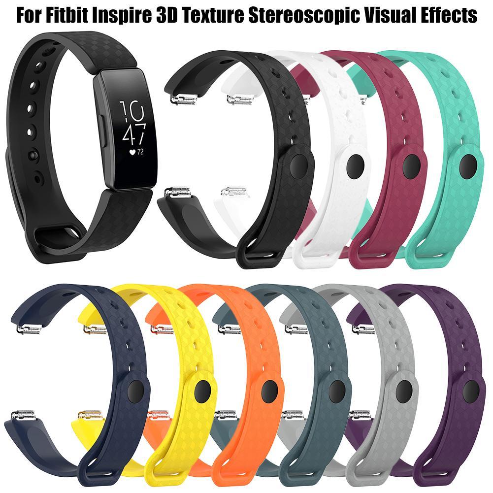 Image 2 - 3D текстура мягкий силиконовый браслет спортивные часы браслет ремешок 3D текстура стереоскопические визуальные эффекты для Fitbit Inspire-in Умные аксессуары from Бытовая электроника