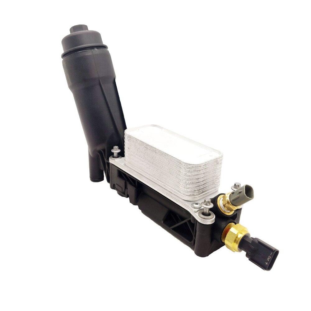 Assemblage du boîtier du filtre du refroidisseur d'huile moteur avec deux capteurs pour Chrysler Dodge Jeep Avenger 3.6L 5184294AE, 5184294AC, 5184294AD