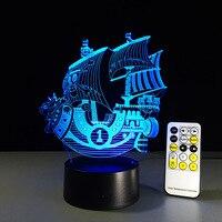 Glad Zeilen 3D Lamp Creatieve nachtlampje baby 7 Kleurverandering Acryl Remote Touch Schakelaar slaapkamer lamp USB wc lamp