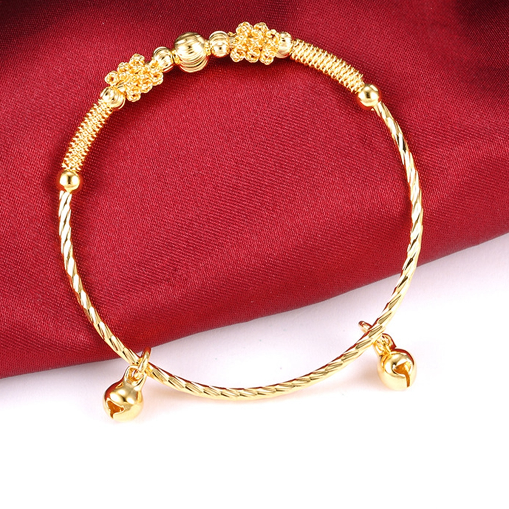 Lovely Children Bangle Bracelet Yellow Gold Filled Baby Jewelry Present with Bells bracelet