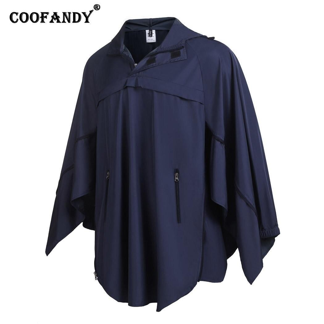 COOFANDY New Arrivals Men Turn Down Collar Drawstring Hood Long Sleeve Side Zipper Up Rain Jacket Coat Free Shipping