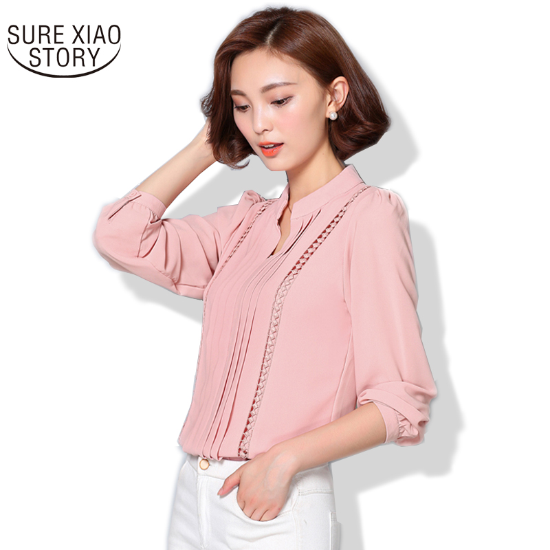 Buy 2017 Fashion Korean Style Plus Size Chiffon Women Blouse Office Lady Solid