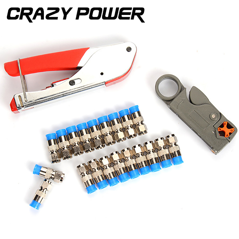 Crazy Power Coaxial Cable Wire Stripper RG6/RG59 Compression F Connector Tool Crimping Pliers Wire Stripping Pliers Kit AMH143 automatic cable wire stripper stripping crimper crimping plier cutter tool diagonal cutting pliers peeled pliers