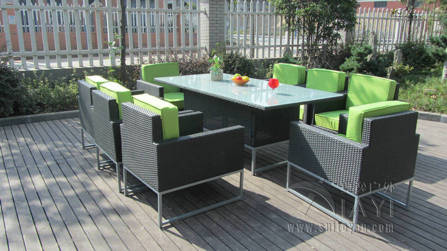 9 pcs synthetic rattan garden dining sets cafe balcony for Sofa exterior rattan sintetico