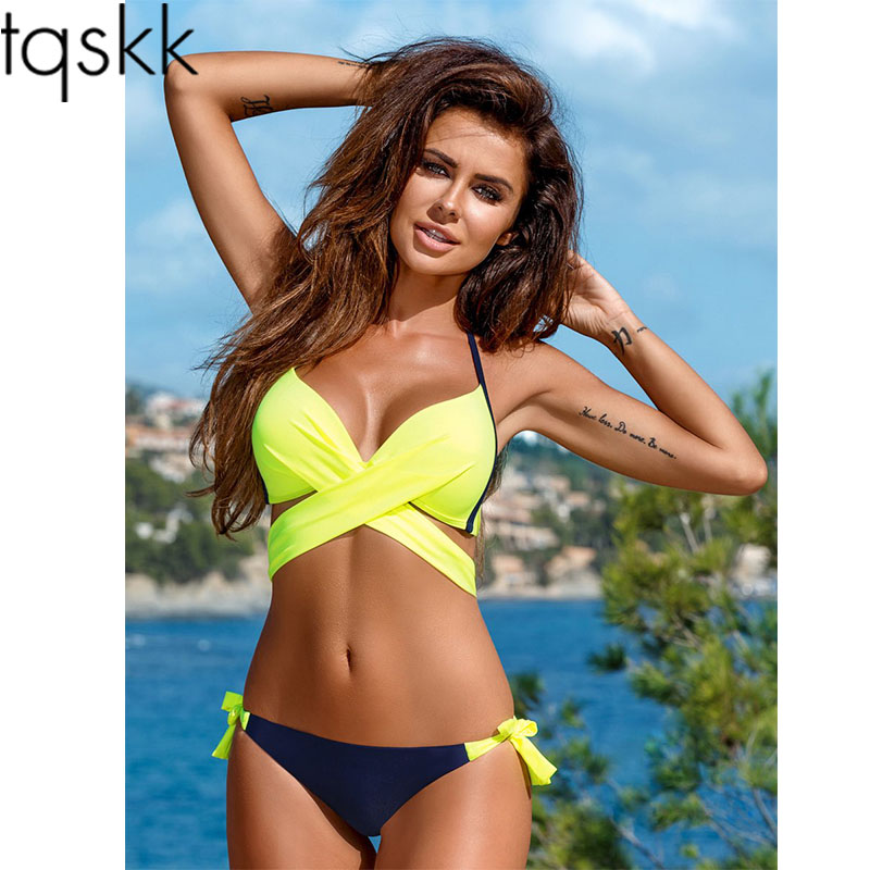 TQSKK New 2019 Cross Halte Bikinis Women Swimsuit Female Swimwear Brazilian Bikini Set Vintage Summer Bathing Suit Wear Biquini