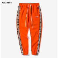 Aolamegs Men Casual Track Pants Black White Plaid Side Stripe Vintage Jogger Pants High Street Male