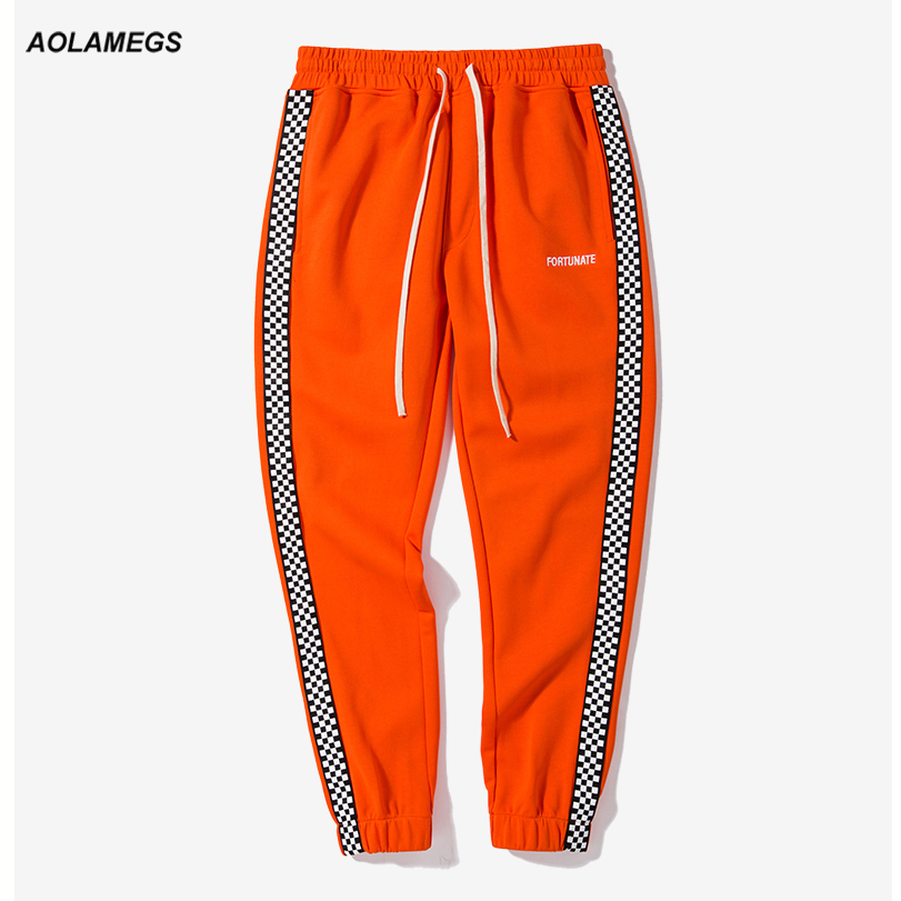 Aolamegs Men casual track pants black white plaid side stripe vintage jogger pants high street male sweatpants leisure trousers