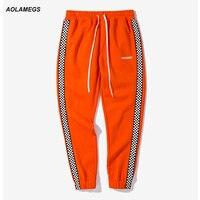 Aolamegs Men Casual Track Pants Black White Plaid Side Stripe Vintage Jogger Pants High Street Male