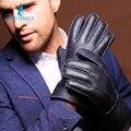 холодная зима мужчины кожаные перчатки мода меха зима теплая шерсть перчатки зимние перчатки короткие теплые толстые кожаные перчатки