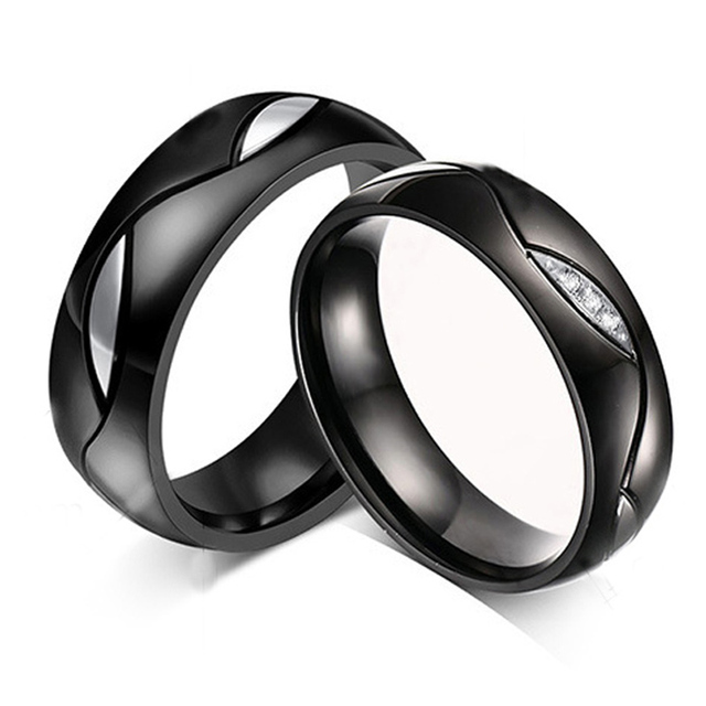 black rings eternity men women wedding bands jewelry promise rings set for lovers matching wedding ring - Wedding Rings Sets For Women