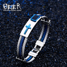 BEIER Stainless Steel 3Rows Wire Gold/blue Chain Bracelets Bangles Punk Rock Style Cross Bracelet Christian Men Jewelry BR-S001(China)