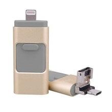 USB3.0 3 en 1 OTG Flash Drive 32 gb 64 gb 128 gb de memoria Mini Usb Pen Drive de Metal Para el iphone de Apple Android y windows PC Computer