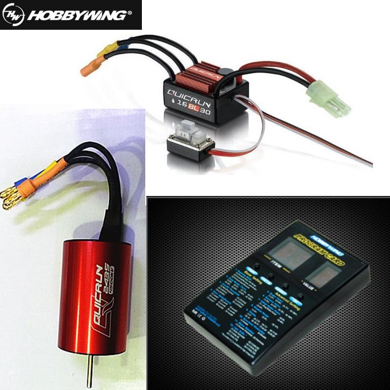 1 pcs D'origine Hobbywing QuicRun WP-16BL30 Brushless Speed Controller 30A RC Voiture ESC + 2435 4500kv moteur + programe carte en gros