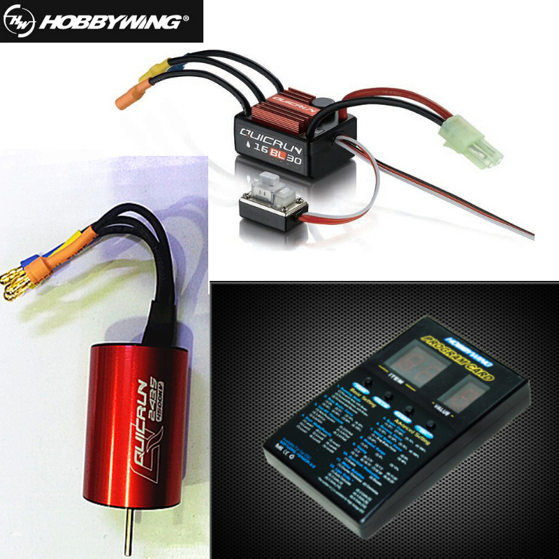 1pcs Original Hobbywing QuicRun WP-16BL30 Brushless Speed Controller 30A RC Car ESC + 2435 4500kv motor+ programe card Wholesale hobbywing quicrun wp 16bl30 hobbywing quicrun 30110000 brushless waterproof 30a sensorless esc wp 16bl30 for 1 16