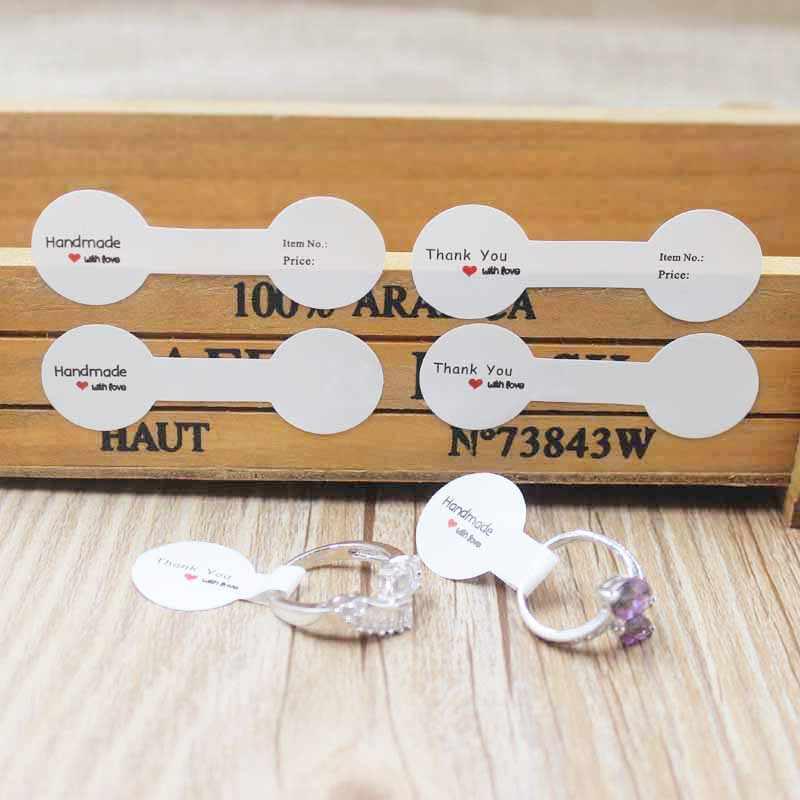 100PCS multi stile di carta piegato anello etichette bianco/kraft grazie autoadesivo etichette di prezzo sticker per monili 6*1.20 centimetri