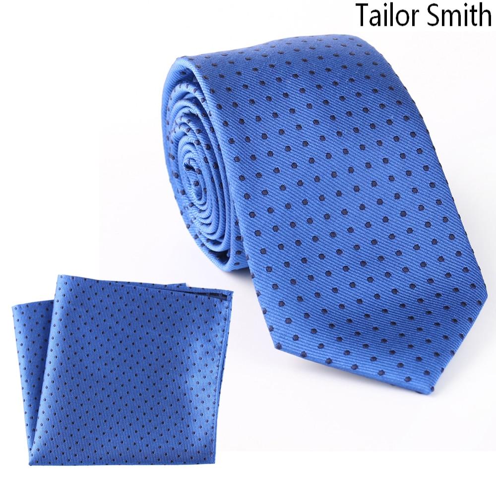 Tailor Smith Pure Silk Woven Jacquard Small Polka Dot Blue Necktie Hanky Set Formal Business Wedding Suit Dress Tie Handkerchief
