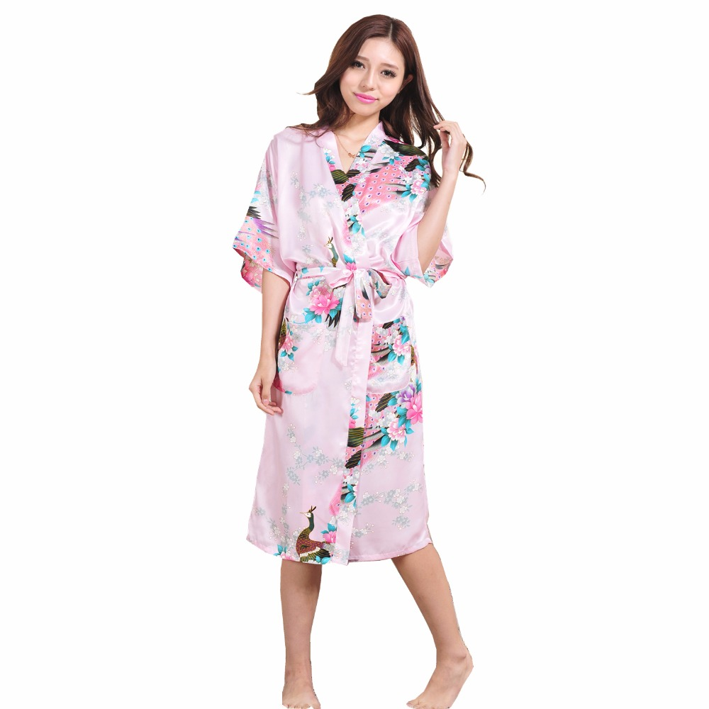 Brand New Pink Chinese Lady Silk Rayon Nightgown Sleepwear Wedding Bridesmaid Robe Kimono Gown Flower Plus Size S- XXXL S001-G