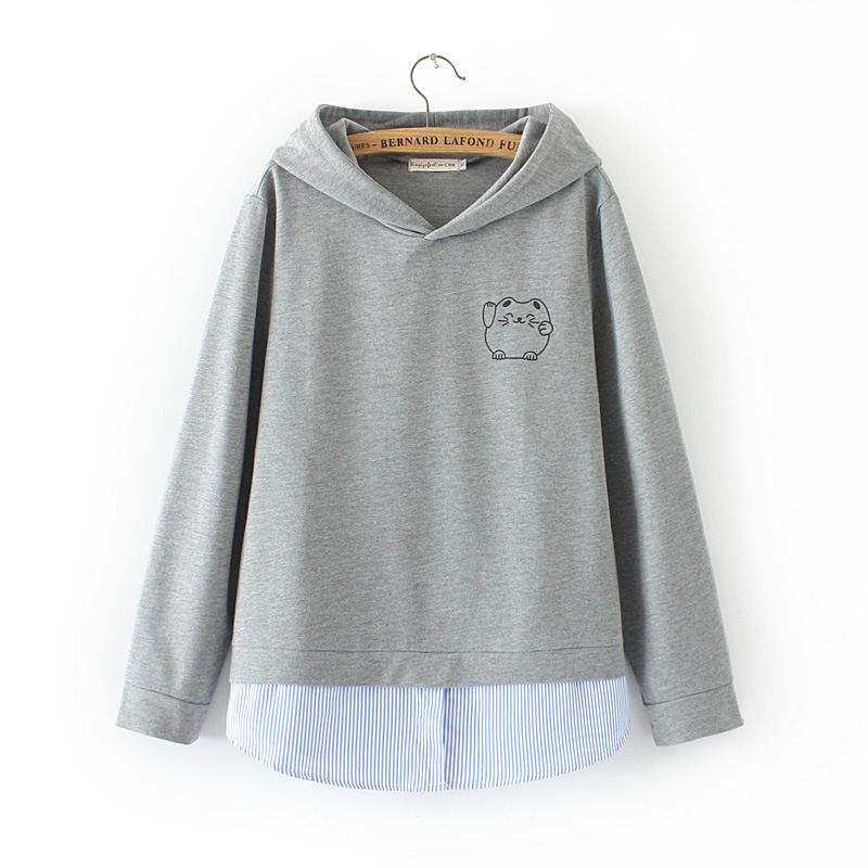 Print Large gray Stitching Cotton Cartoon Women's Loose Tops Striped Plus Hood Size New 2018 Autumn Black Sweatshirts qw8aOFA