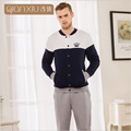 2017 Spring Brand homewear Male Casual Patchwork Pajama sets Men Cotton velvet Sleepwear suit Couples Long sleeve Coat+Pants