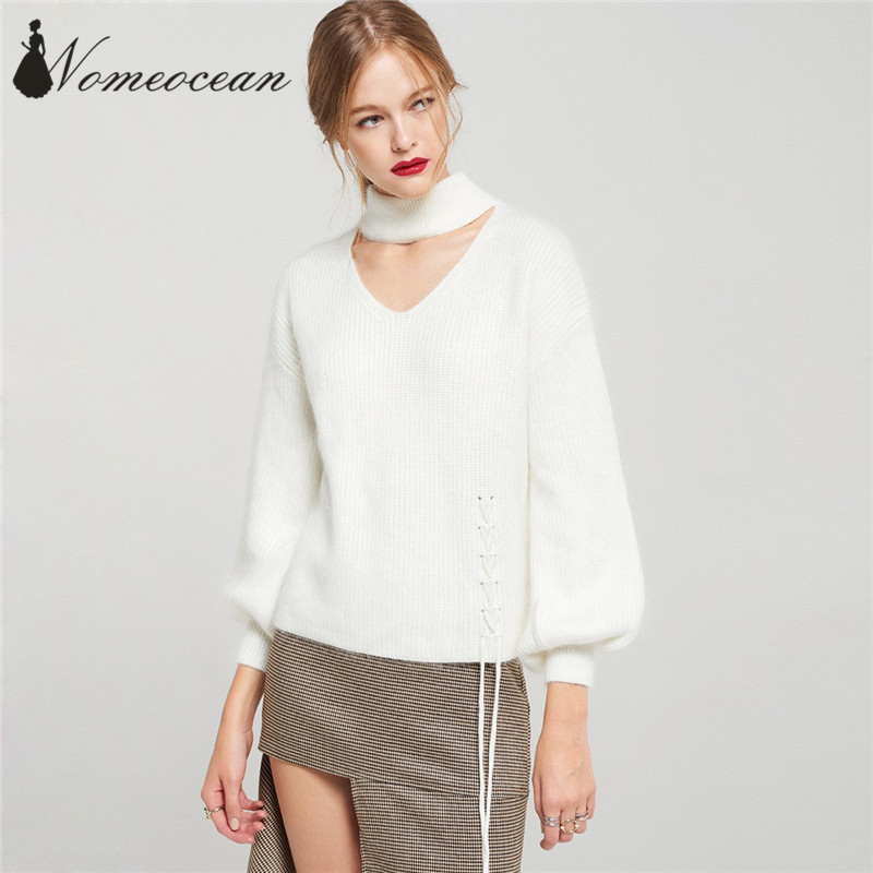 ff6aeef9db Choker Detail V neck Cut Out Fuzzy Sweaters of Girls 2018 Spring Lace up  Detail Top Long Sleeve Sweater Pullovers M17122020-in Pullovers from  Women s ...