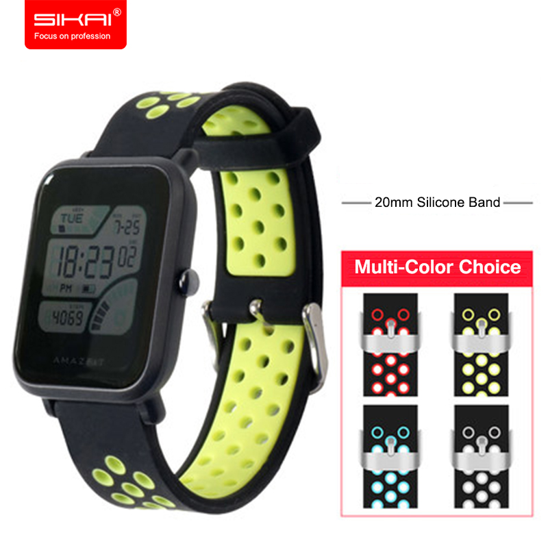 20mm Breathable Strap For Amazfit Bip BIT PACE Lite Youth Bracelet Watch Band Sport Strap SIKAI