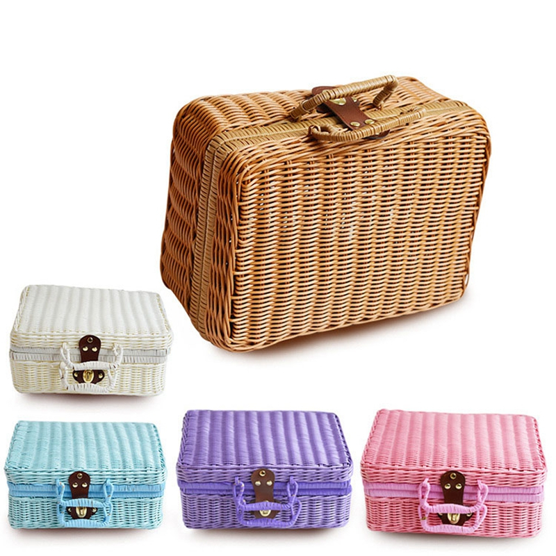 WHISM Travel Picnic Basket Handmade Wicker Storage Case Vintage Suitcase Props Box Weave Bamboo Boxes Outdoor Rattan Organizer|Storage Baskets| |  - title=