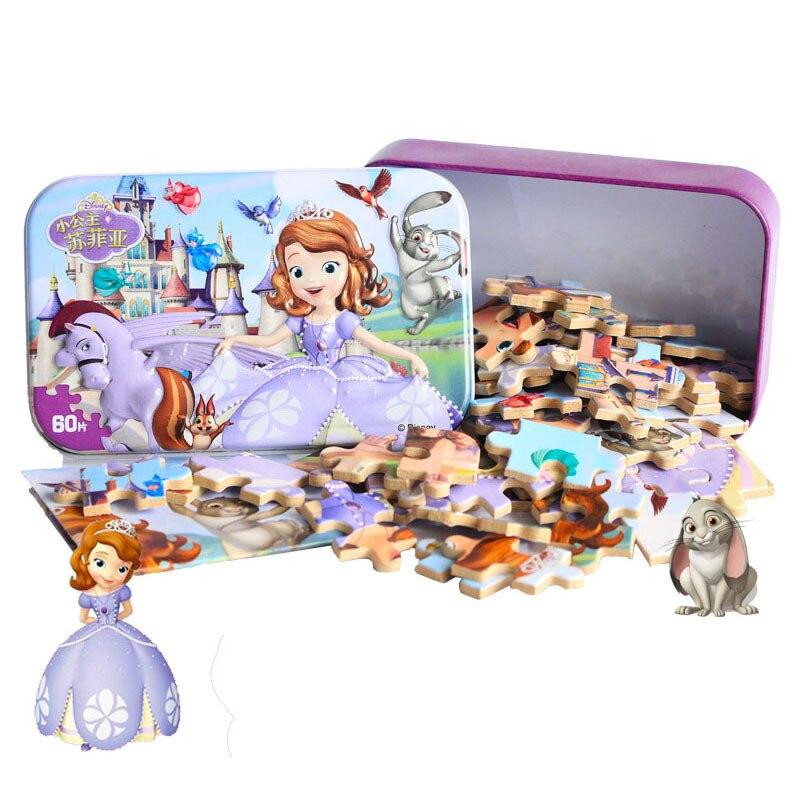 Disney 60 шт. принцессы Софии железный ящик деревянный пазл детские образовательные строительные Пазлы игрушки персонажа из мультфильма подар...