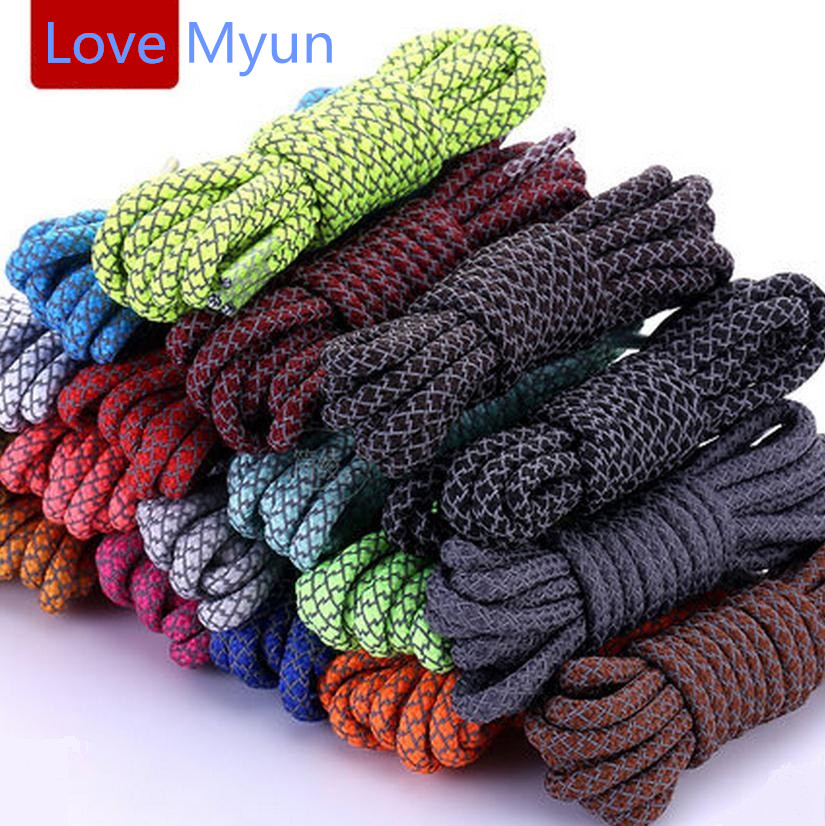 Reflective Safety Round Shoelaces Sneakers Boots Shoelaces Sports Basketball Runner Casual Shoe Laces Rope String Wholesale
