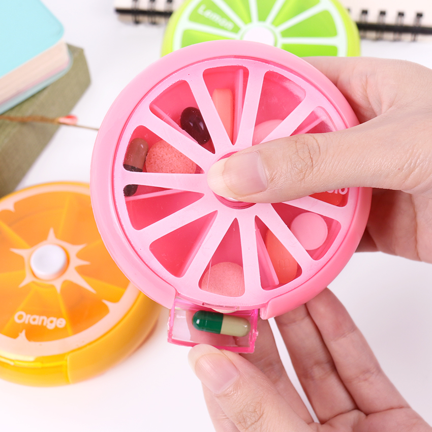 1PC Weekly Rotating 7 Day Pill Container Pill Box Splitter Pill Organizer Medicine Box Cutter Travel Pillbox Health Stationery