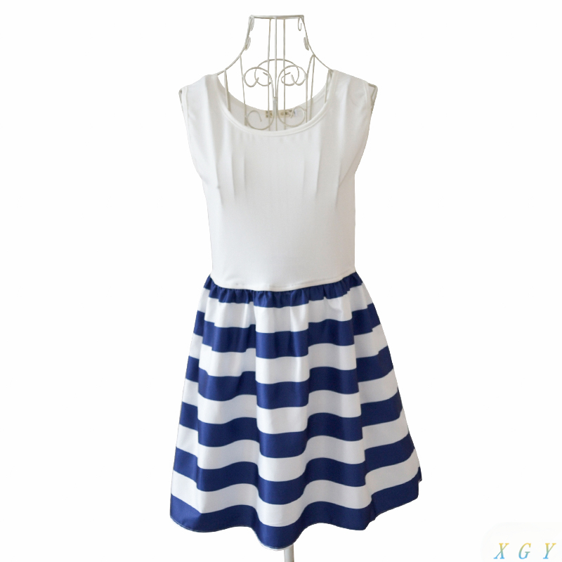 ba04212f3884 Summer Sleeveless Blue White Striped Dress Women Dress Navy Sailor Striped  Printed Dress Simple Fashion Dress CC2902-in Dresses from Women's Clothing  on ...