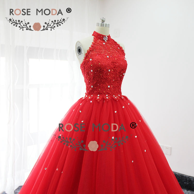 Rose moda red halter puffy prom dress bling kristall formale party dress lace up zurück real bilder - 6