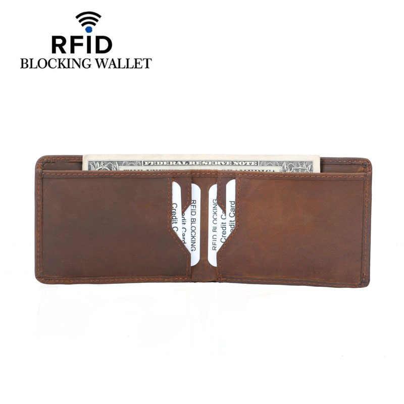 Винтажный дизайн RFID Блокировка из натуральной кожи мужской тонкий мини-кошелек мужской маленький кошелек-зажим для денег Кредитная карта доллар цена