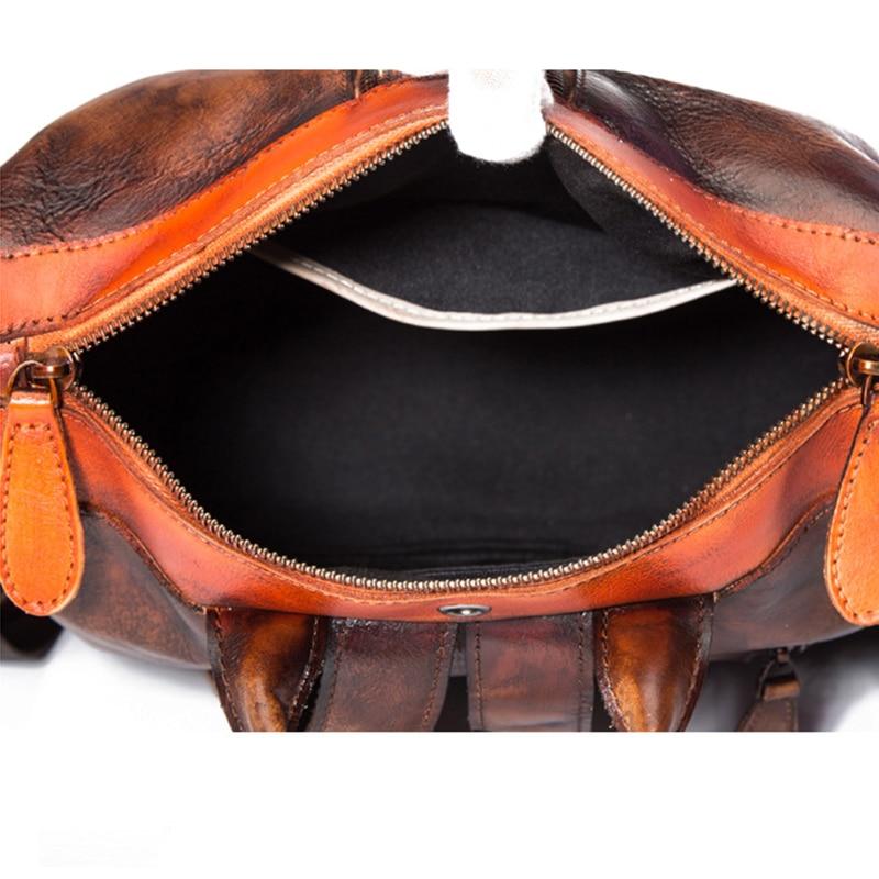 Real Cowhide Women Backpack Vintage Daypack Brush Color Travel Bag Leisure Female High Quality Genuine Leather Rucksack Knapsack