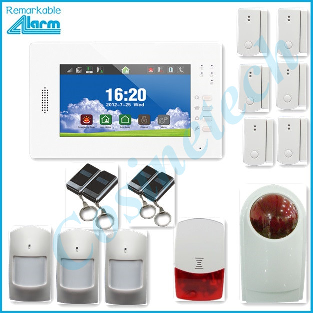 HOT SALES 868MHZ Smart home security alarm,support IOS Android APP 7 inch touch screen GSM alarm system with police strobe siren