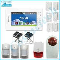 VENTAS CALIENTES 868 MHZ alarma de seguridad para el hogar Inteligente, soporte IOS Android APP 7 pulgadas de pantalla táctil GSM sistema de alarma con luz estroboscópica de policía sirena