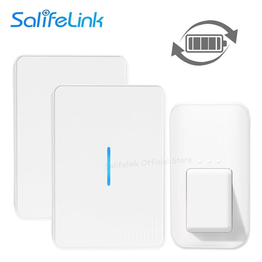 Salifelink Self Powered Waterproof Wireless DoorBell No Battery Need EU US UK Plug Home Ring Door Bell 1 2 Button 1 2 Receivers