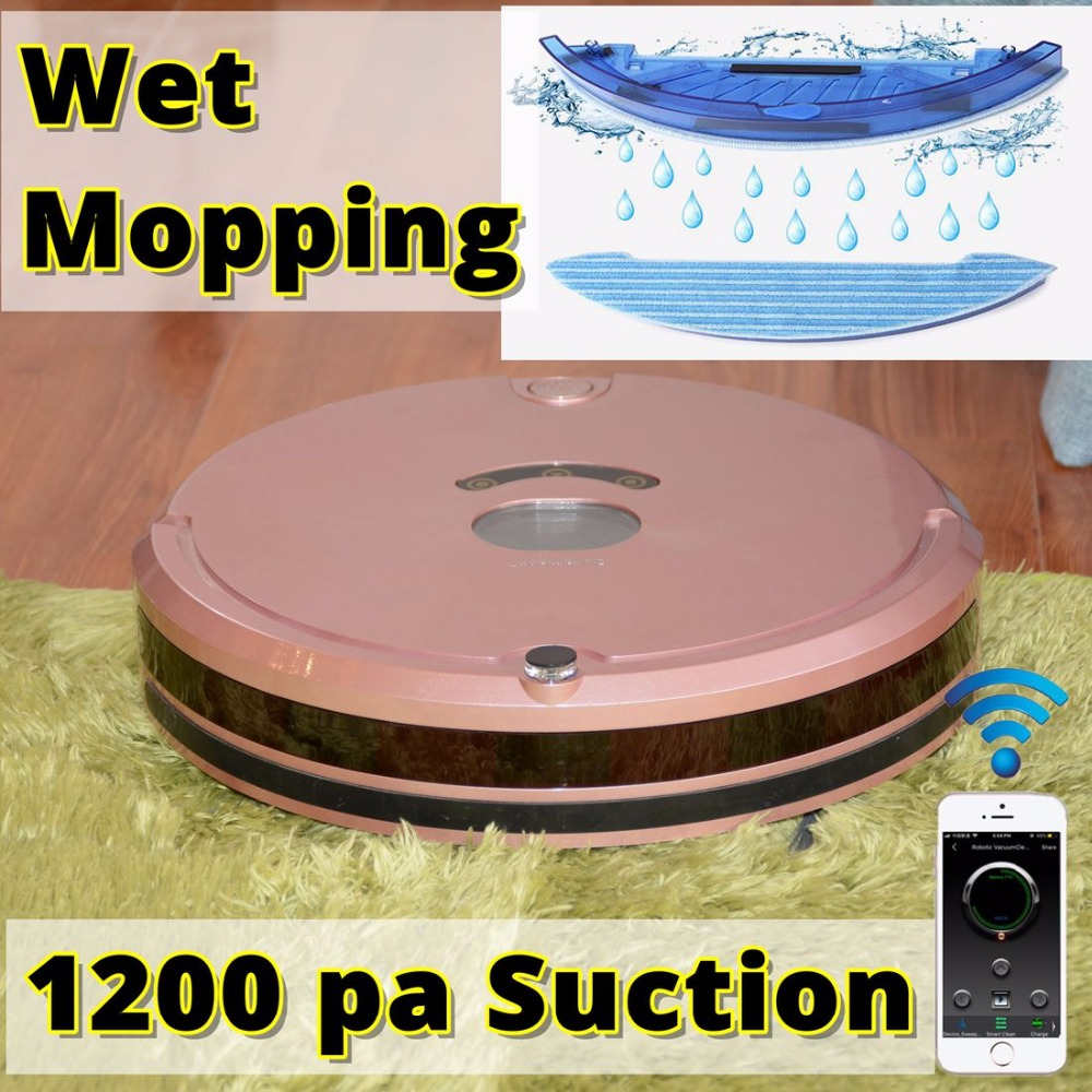 Robot Vacuum Cleaner with 1200PA Power Suction for Thin Carpet Wooden floors mop Wi-Fi Connectivity Planned Route Doramach FRV8