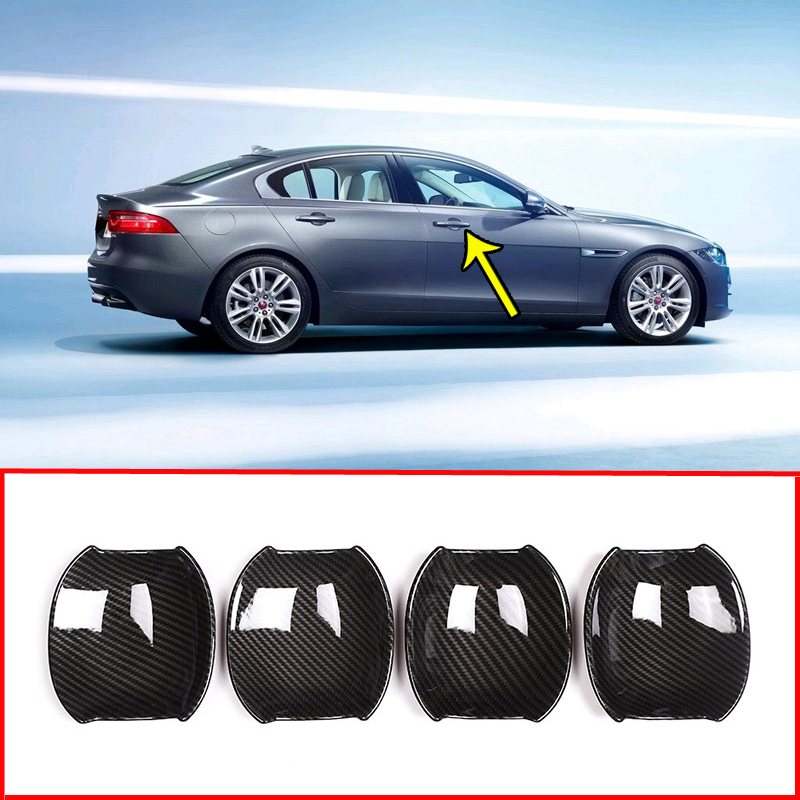 Carbon Fiber Style+ABS Chrome Silver Door Handle Bowl Cover Trim Sticker  For Jaguar XE X760 XF X260 2016-2018 Car Accessories
