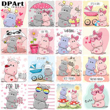 Diamond Painting Full Square/Round Drill Cartoon Hippo 5D Daimond Painting Embroidery Cross Stitch Kit Mosaic Rhinestone A036(China)