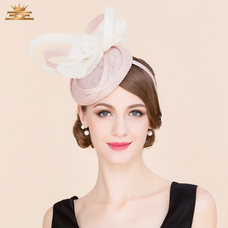 Ladies Pink 100% Linen Pillbox Hat Fascinators for Women Elegant Derby Church Fedora British Style Flowers Wedding Hats B-8186