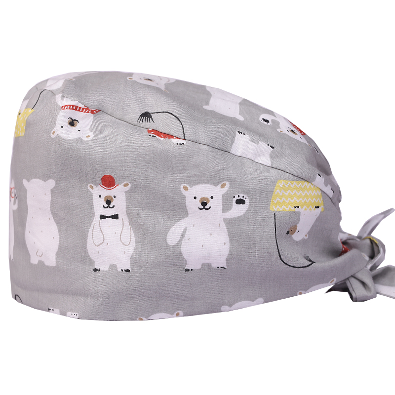 Polar Bear Cotton Print Scrub Caps For Women And Men Hospital Medical Hats Print Tieback Elastic Section Surgical Caps Printing