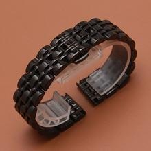 2017 Promotion watch accessories watchband for wrist watch smart watch polished beautiful watch straps silve black metal 20 22mm стоимость