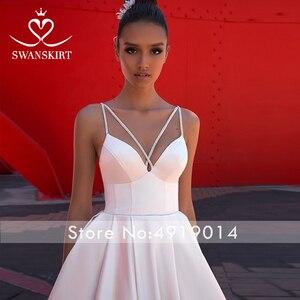 Image 3 - Женское атласное свадебное платье, простое трапециевидное платье со шлейфом и карманами, модель F136, 2019