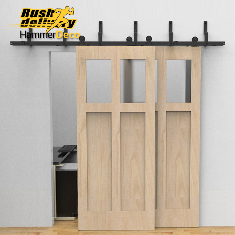 Antique Country Farm Sliding Double Door Hardware Modern Barn Wood Interior  Rollers Closet Track Kit Set