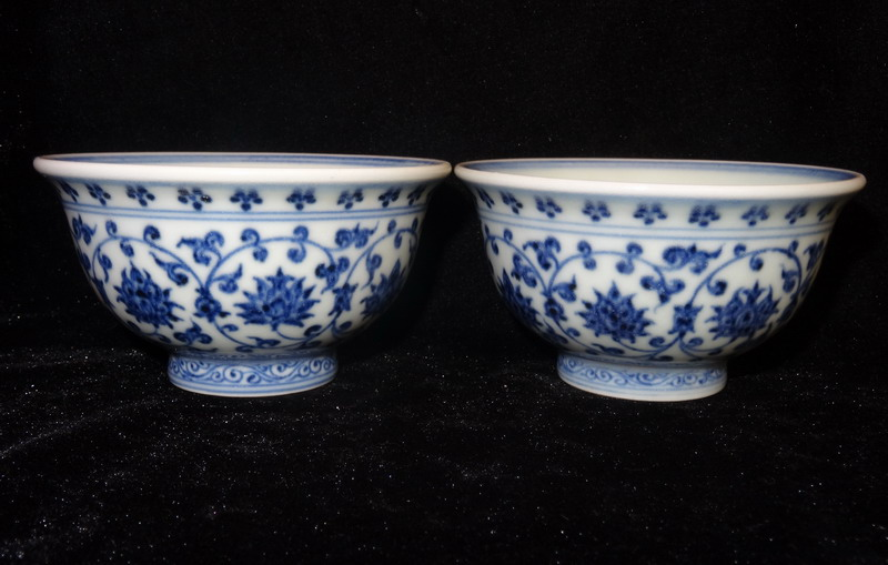 Ming dynasty yongle blue and white porcelain flowers and plants ming dynasty yongle blue and white porcelain flowers and plants painting design a pair of press hand cup bowl chinese antique in mens costumes from mightylinksfo