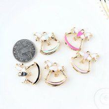 Oil Drop Charms 5pcs lot Beautiful Horse Gold Tone Metal Enamel Folating Pendant Carousel Charms for