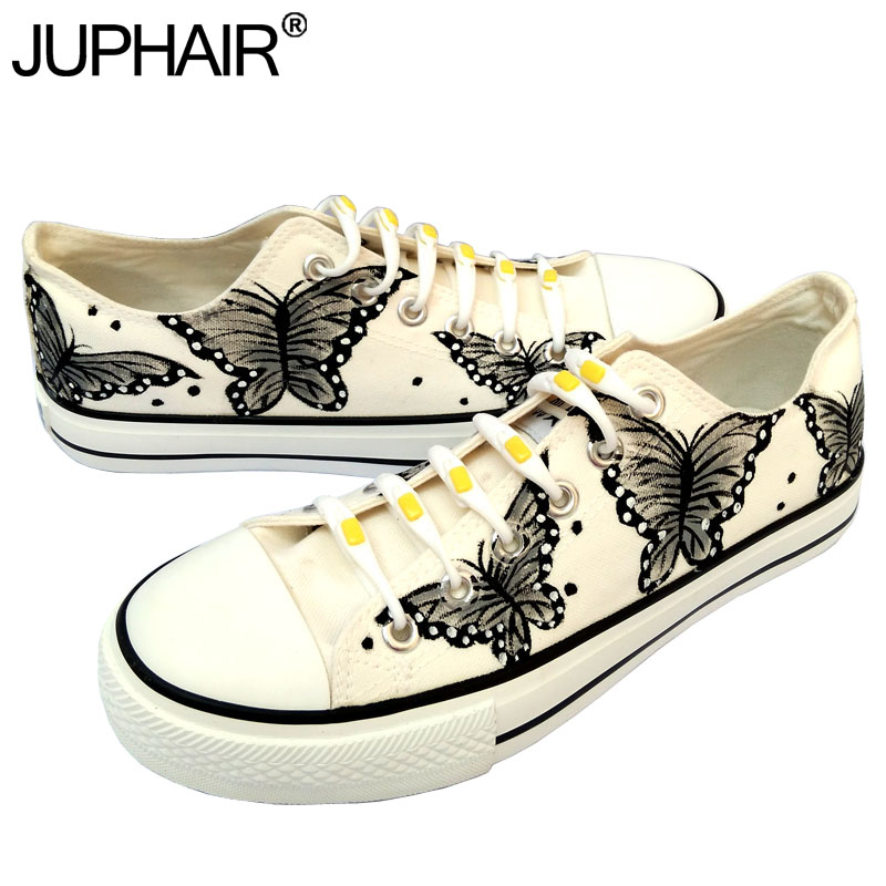 JUP Women Animated Cartoon Anime Butterfly Despicable Me Minion Shoe Couples Hand Painted Canvas Shoes Casual White Tie Shoelace despicable me unicorn minion stuffed