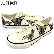 JUP Women Animated Cartoon Anime Butterfly Despicable Me Minion Shoe Couples Hand Painted Canvas Shoes Casual White Tie Shoelace